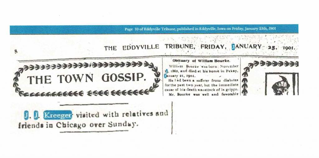 J. J. Kreeger – the Town Gossip - 1901 Eddyville Tribune