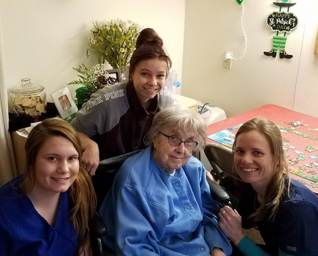 Court Manor Nursing Home  - Abby, Anais, and Maija -  Mom (Marion Larson)